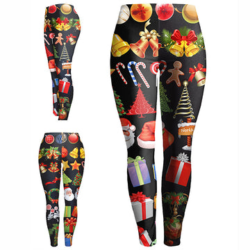 Skinny Christmas Printed Stretchy Pants Leggings