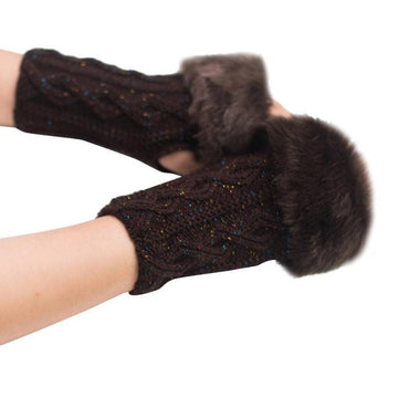 Feitong Winter Gloves Warm Winter Faux Rabbit Fur Knitted Wrist Fingerless Gloves Mittens Cold-weather street wear#3