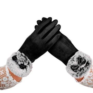 FEITONG Winter Rabbit Fur Gloves