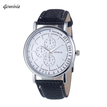 Diamond Analog Quartz Faux Leather Wrist Watch