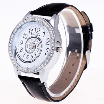 Quartz Watch Leather Band Rhinestone Wrist Watch