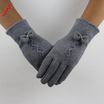 Feitong Brand Cotton Gloves Winter Warm Glove Bow Lace Decoration Wrist Thick Mitten Full Finger Touch Screen Glove#3