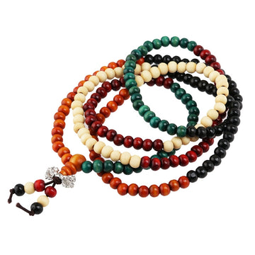 216pcs Sandal Wood Buddhist Bracelet Necklace Buddha Mala