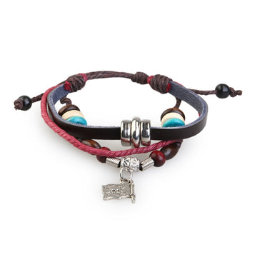 Handmade Retro Pirate Flag Beads Adjustable PU Bracelet Wirstband