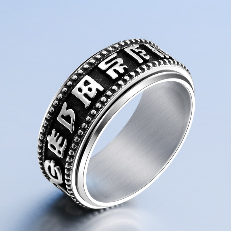 Mcllroy Titanium steel Six words of mantra ring