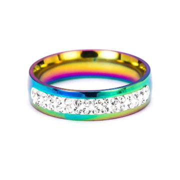 Fashion Rings Couple Jewelry Gift Gay Lesbian Pride Love Same Love Rainbow Flag Rings