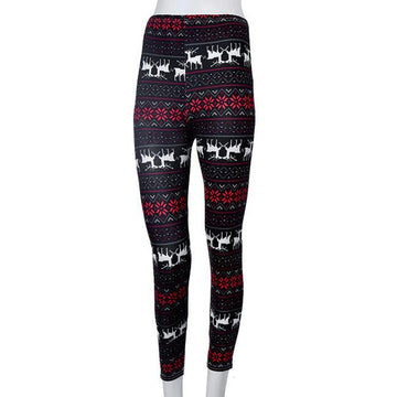 Skinny Leggings Flower Deer Printed