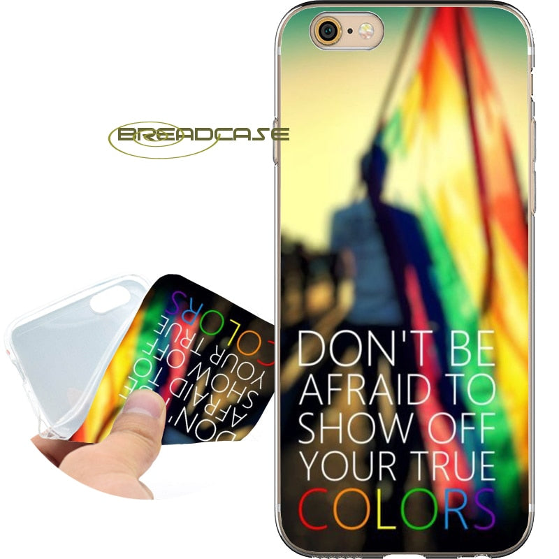 LGBT Rainbow Quotes Soft Clear TPU Silicone Phone Case for iPhone Al Model