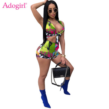 Adogirl Fashion Print Athleisure Tracksuits V Neck Sleeveless Crop Top Shorts Summer Suits