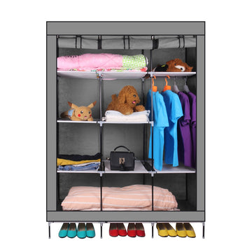 69 Inch Portable Closet Organizer Large Space Clothes Wardrobe Steel