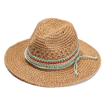 Fedora Summer Beach Sun Hat (Brown)