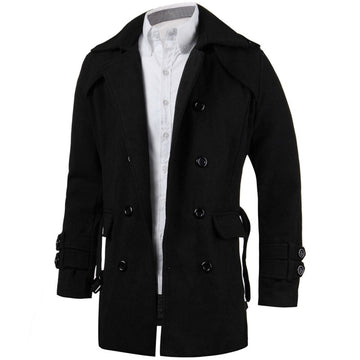 Gay Bi Trans Winter Jackets Wool Trench Slim Fit Belted Long Coat