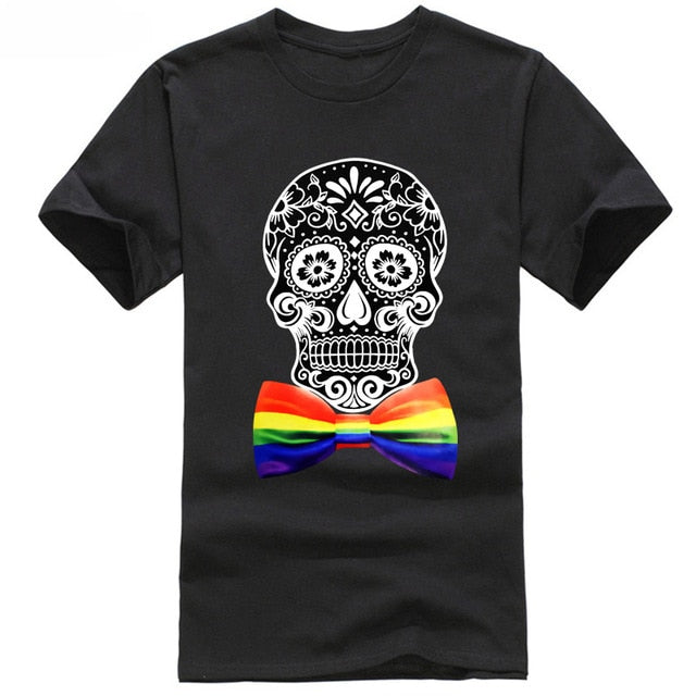 Short Sleeve Rainbow Bowtie Sugar Skull Black T Shirt