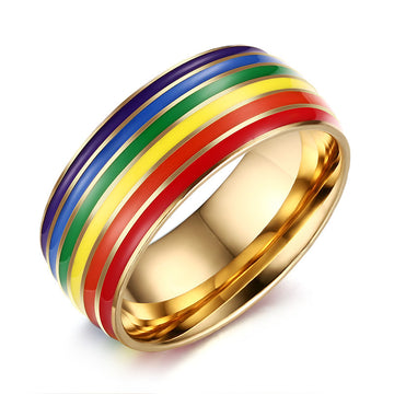 Stainless steel rainbow striped rainbow flag lesbian Comrade Ring supplies gay pride rainbow jewelry unisex