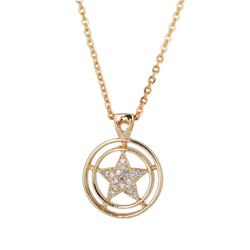 Star Following the Sun Shape Zincons Hollow out Necklace