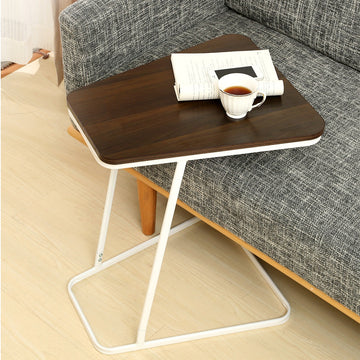 C Shape Small Side Computer Tray Table Toughened Wood Top