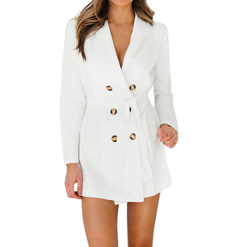 Long Sleeve Button Solid Stylish Duster Blazer Jacket Coat