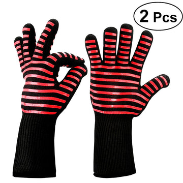 2Pcs BBQ Grill Oven Gloves Heat Resistant Premium Insulated and Silicone Lined Aramid Fiber Red Streak Gloves for Cooking Baking Smoking Fireplace Oven Mitts