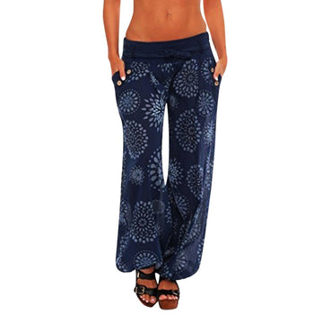 Loose Print Pocket Hareem Full Length Pants Trouser Wide Leggings