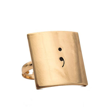 Hand-Stamped Semicolon Adjustable Ring