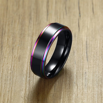 Rainbow IP Edges With Matte Center Ring