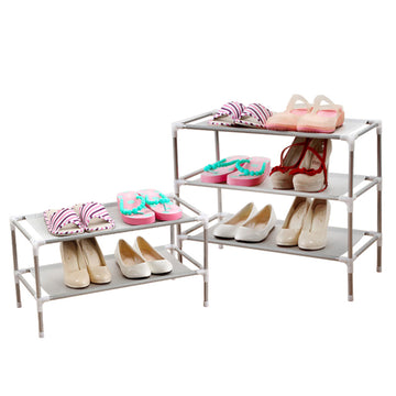 Shoe Rack Organizer Storage Pairs Shoes Shelves Space 3 Tier Layer Standing