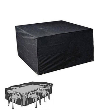 Waterproof Dustproof Patio Outdoor Table and Chair Set Cover (Black)