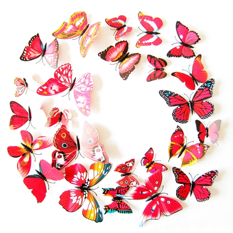 12pcs Refrigerator Magnets 3D Butterfly Decal Wall Stickers Home Decorations