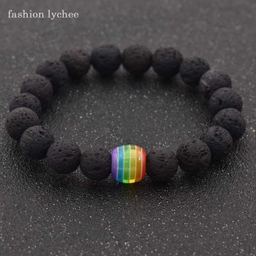 fashion lychee Unique Design Volcanic Lava Stone LGBT Gay Rainbow Beads Ornament Chain Bracelet Fashion Jewelry