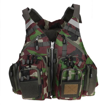 Life Jacket Safety Waistcoat Outdoor Sport Fly Fishing Vest Backpack Breathable Outdoor Fishing Safety Vest Survival Safety Vest