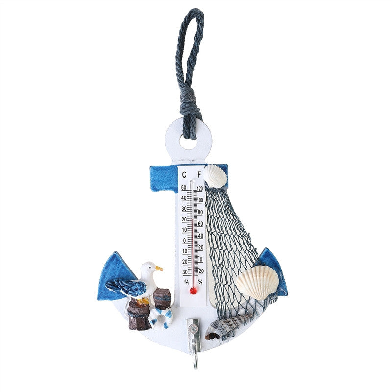 Beach Style Hanging Ornaments Anchor Wall Hooks Mini Thermometer Nautical Decor
