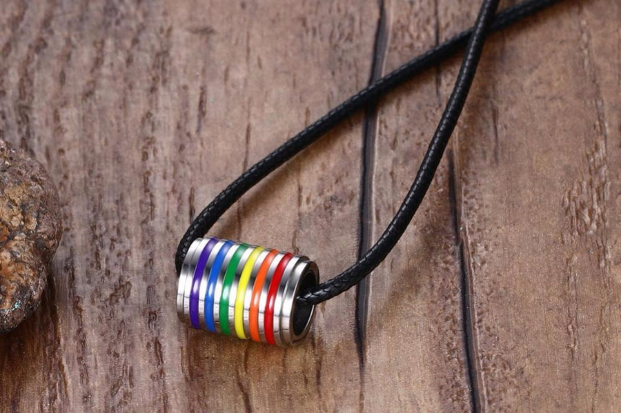 Jewellery Set Stainless Steel Rainbow Rubber Striped Round Ring Choker Necklace