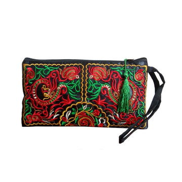 Ethnic Style Embroidery Canvas Handbag Purse Wallet