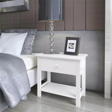 White Bedside Cabinet Wood With A Smooth Drawer