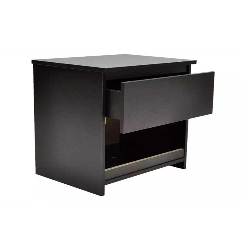 Black Nightstand With One-Drawer Black 2 Pcs Elegant Furniture For Home Use