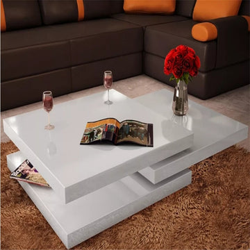 Extendable White Coffee Table 3 Tiers High Gloss Durable