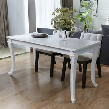 Durable White Dining Table High Gloss Density Fibreboard