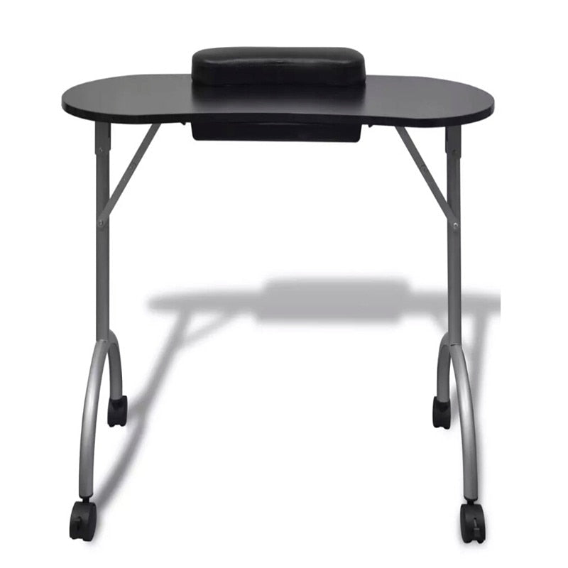 Black Folding Manicure Table With Casters
