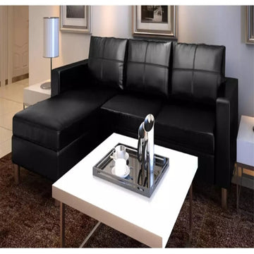 VidaXL Synthetic Black Sectional 3 Seater Sofa Leather