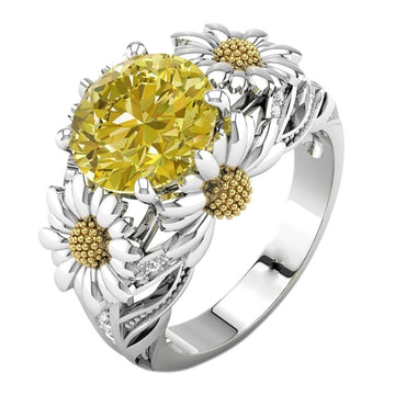 European And American Fashion Sunflower Diamond Ring