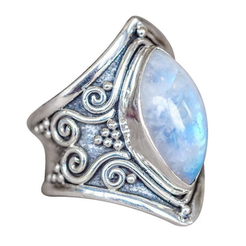 Silver Natural Gemstone Marquise Moonstone Personalized Ring