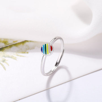 Enamel Rainbow Open Adjustable Size Titanium Ring