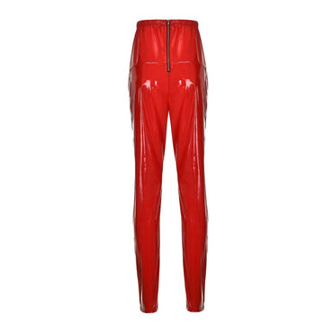 Leggings Zipper Faux Leather Club Party Skinny Shiny Pants Trousers