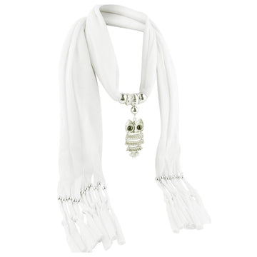 Pendant Scarf With Tassel Rhinestone Jewelry Scarves