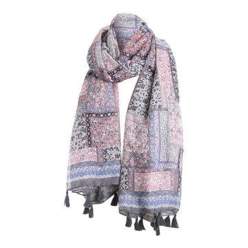 Embroidered Cotton Linen Floral Wrap Shawls Scarves