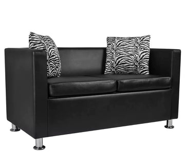 VidaXL High Quality 2-Seater Synthetic Leather Black Sofa