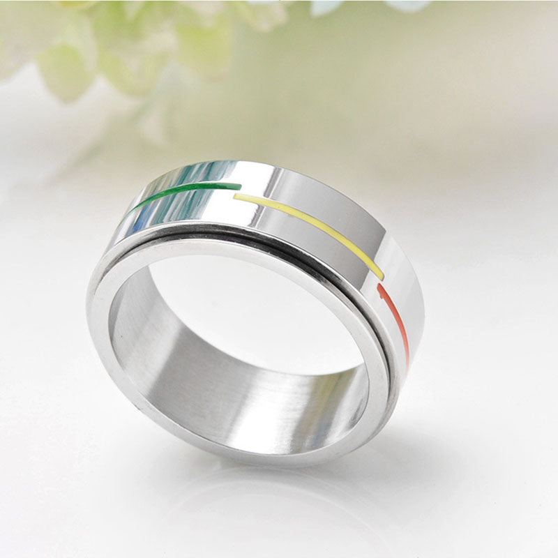 Stainless Steel LGBT Ring Rotatable Rainbow Flag