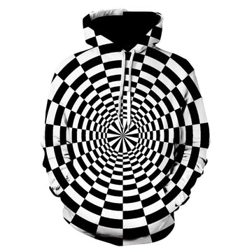 3D Digital Vortex Printed Long Sleeve Hooded Sweatshirt Tops Blouse