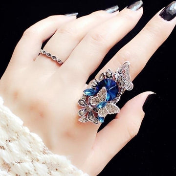Fashion jewelry Retro sapphire & Amethyst inlay Butterfly ring (two - piece)Size