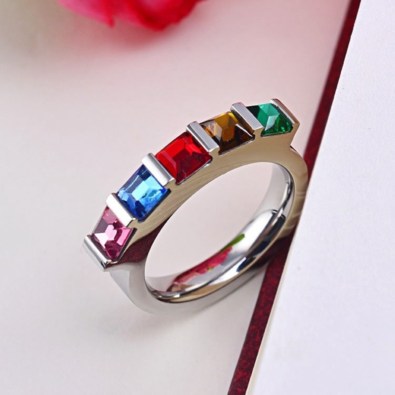 Five Color Cubic Zirconia Rainbow Ring